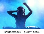 pretty young dj playing music... | Shutterstock . vector #538945258