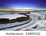 Snowy Winter Landscape At Dusk...