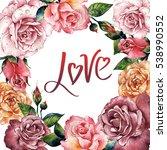 wildflower rose flower frame in ...   Shutterstock . vector #538990552