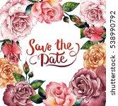 wildflower rose flower frame in ...   Shutterstock . vector #538990792
