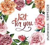 wildflower rose flower frame in ... | Shutterstock . vector #538992028