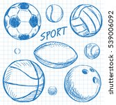 ball sketch set simple outlined ... | Shutterstock .eps vector #539006092