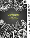 vegetables top view frame.... | Shutterstock .eps vector #539018638