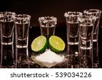 tequila with lime and salt on... | Shutterstock . vector #539034226