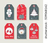 christmas set of gift labels... | Shutterstock .eps vector #539068162