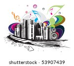 urban grunge city techno music... | Shutterstock .eps vector #53907439