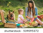 mother and daughter at a picnic ... | Shutterstock . vector #539095372