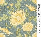 chrysanthemum. seamless pattern ... | Shutterstock .eps vector #539107402