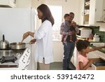 family at home preparing meal... | Shutterstock . vector #539142472