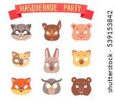 animals party masks set. cat... | Shutterstock . vector #539153842