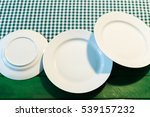 the plate on checkered table... | Shutterstock . vector #539157232