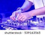 dj is using controller in night ... | Shutterstock . vector #539163565
