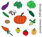 set of various doodles  hand... | Shutterstock . vector #539180146