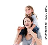 cheerful mother giving... | Shutterstock . vector #53921842
