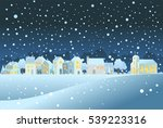 homes and church in winter.... | Shutterstock .eps vector #539223316