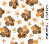 aloha typography with hibiscus... | Shutterstock .eps vector #539255398