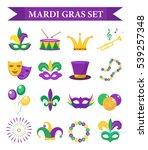 Mardi Gras Carnival Set  Icons  ...