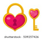 heart lock and heart key icon ... | Shutterstock .eps vector #539257426