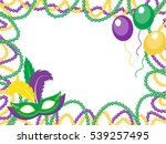 mardi gras beads colored frame... | Shutterstock .eps vector #539257495