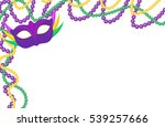 mardi gras beads colored frame... | Shutterstock .eps vector #539257666