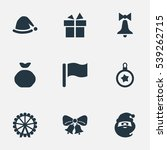 set of 9 simple christmas icons.... | Shutterstock .eps vector #539262715