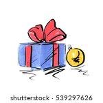 watercolor sketch of christmas... | Shutterstock . vector #539297626