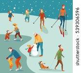 set of illustrations  winter... | Shutterstock .eps vector #539306596