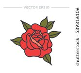 doodle icon. rose flower.... | Shutterstock .eps vector #539316106