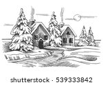 vector sketch of the winter... | Shutterstock .eps vector #539333842