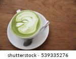 green tea latte on wood... | Shutterstock . vector #539335276