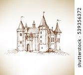 medieval castle sketch. vector... | Shutterstock .eps vector #539356372