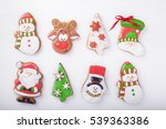 gingerbread cookies on white... | Shutterstock . vector #539363386