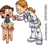 cartoon doctor examining a boy... | Shutterstock .eps vector #539394382