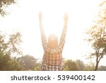 silhouette of a happy woman and ... | Shutterstock . vector #539400142