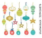 christmas balls set. vector... | Shutterstock .eps vector #539416876