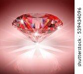 red diamond in bright light. 3d ... | Shutterstock . vector #539434096