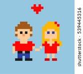 pixel art. young loving couple  ...   Shutterstock .eps vector #539445316