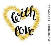 gold glittering heart confetti... | Shutterstock .eps vector #539449132