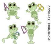 Cute Frogs holding letters of the alphabet. - stock vector