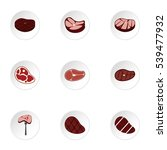 meat icons set. flat... | Shutterstock .eps vector #539477932