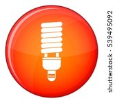 Fluorescent Bulb Icon In Red...