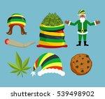 rasta new year icons set. santa ... | Shutterstock . vector #539498902