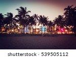 ocean drive street with... | Shutterstock . vector #539505112
