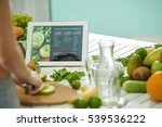 woman reading green smoothie... | Shutterstock . vector #539536222