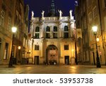 Golden Gate in Gdansk at night - Poland - stock photo