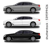 realistic car. sedan. set | Shutterstock .eps vector #539599426