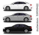 realistic car. sedan. set | Shutterstock .eps vector #539599432
