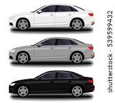 realistic car. sedan. set | Shutterstock .eps vector #539599432