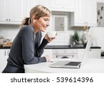 cute smiling woman sitting in... | Shutterstock . vector #539614396
