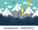 mountain and balloon heart... | Shutterstock .eps vector #539629312